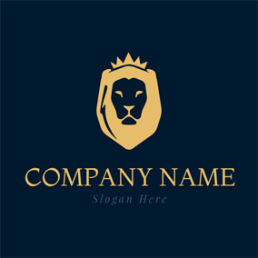 Flat Yellow Lion Head logo design