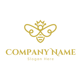 Flat Yellow Wing and Bee logo design