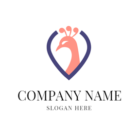 Flesh Pink Peacock Head logo design