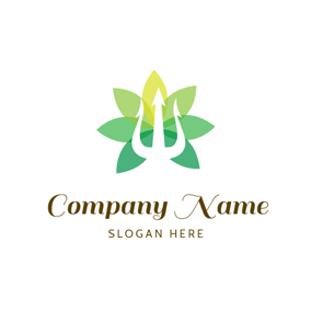Flower and Trident Symbol logo design