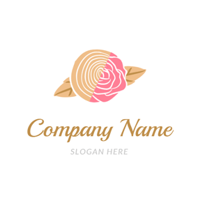 Flower and Wood Icon logo design