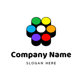 Flower Shape and Colorful Paint logo design