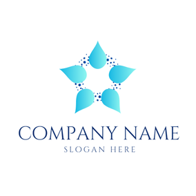 Flower Shape and Water Drop logo design