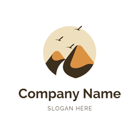 Fly Bird and Hill logo design