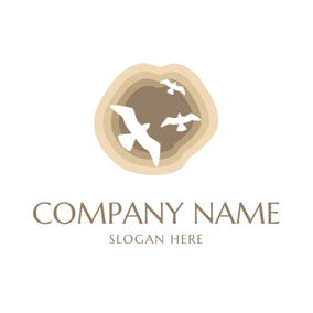 Fly Bird and Island logo design