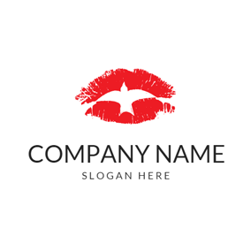Fly Bird and Red Lip logo design