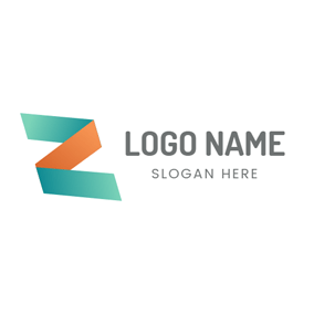Folded Orange Letter Z logo design