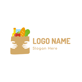 Food Hands Taker Bag Grocery logo design