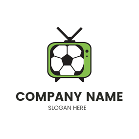 Football and Green Tv logo design