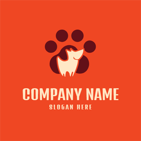 Footprint and Abstract Dog logo design