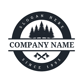 Forest Axe Circle and Banner logo design