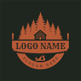 Forest House Banner Woodworking logo design