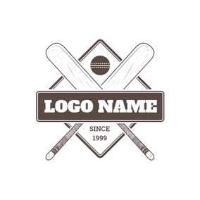 Frame and Cross Cricket Bat logo design