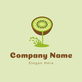 Fresh Juice and Kiwi logo design