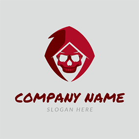 Funny Red Skull Cloak Death logo design
