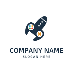 Game Machine and Rocket logo design