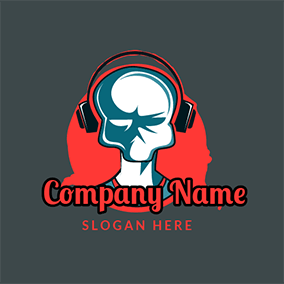 Gaming Character Earphone Bloodthirsty logo design