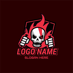 Gaming Fire Skull Shield logo design