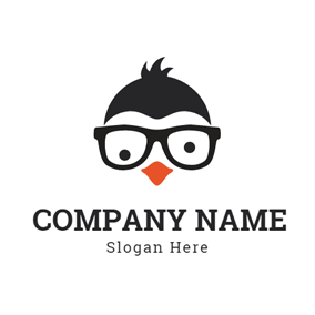 Gentle and Literate Penguin Face logo design