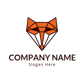 Geometrical Fox Head Icon logo design