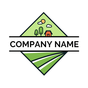 Geometrical Grassland and Farm logo design