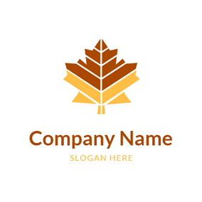 Geometrical Maple Leaf Icon logo design