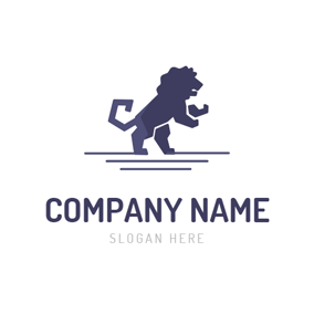 Geometrical Purple Lion logo design