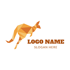 Geometrical Yellow Kangaroo Icon logo design