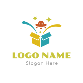 Gift Box and Toy Flying Saucer logo design