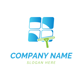 Glass Window and Cleaning Brush logo design