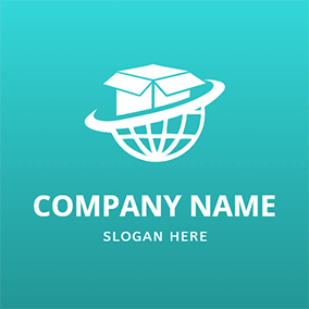 Global Curve Line Box Courier logo design