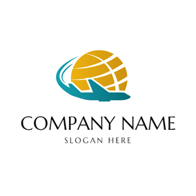 Globe and Fly Airplane logo design