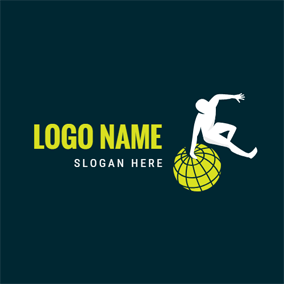 Globe and Parkour Athlete logo design