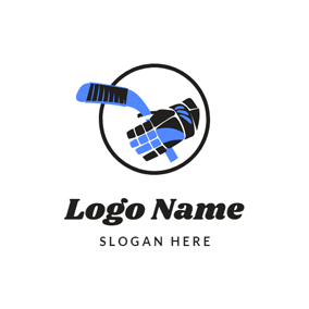 Glove and Hockey Stick logo design