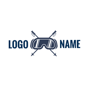 Goggle and Cross Alpenstock logo design