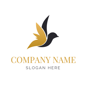 Gold and Black Volant Bird logo design