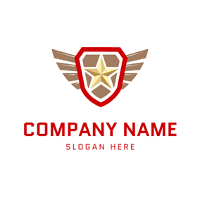Gold Wings and Encircled Star Emblem logo design