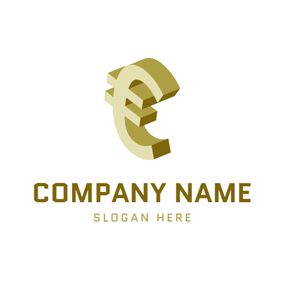 Golden 3D Euro Symbol logo design