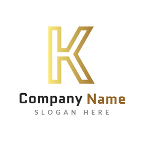 Golden and Brilliant Letter K logo design