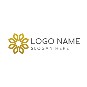 Golden and White Flower logo design