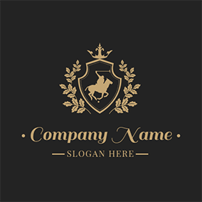 Golden Badge and Horse logo design