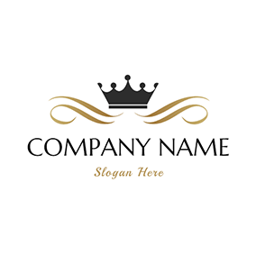 Golden Branch and Black Crown logo design