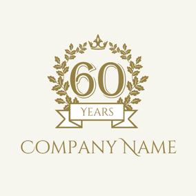 Golden Branch and Number Sixty logo design