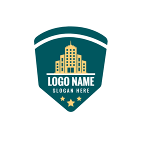 Golden Building and Green Police Shield logo design