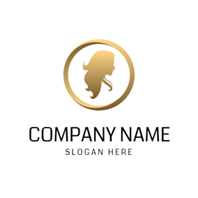 Golden Circle and Women Silhouette logo design