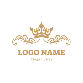 Simple Black Wedding Ring Golden Crown And Branch Logo Design