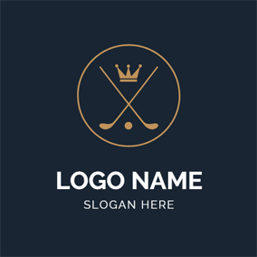 Golden Crown and Crossed Golf Club logo design
