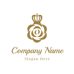 Golden Crown and Flower logo design