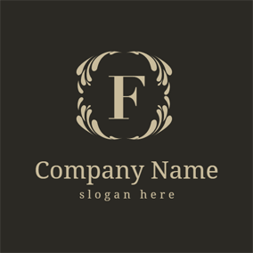 Golden Decoration and Letter F logo design