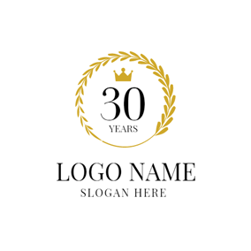 Golden Decoration and Number Thirty logo design